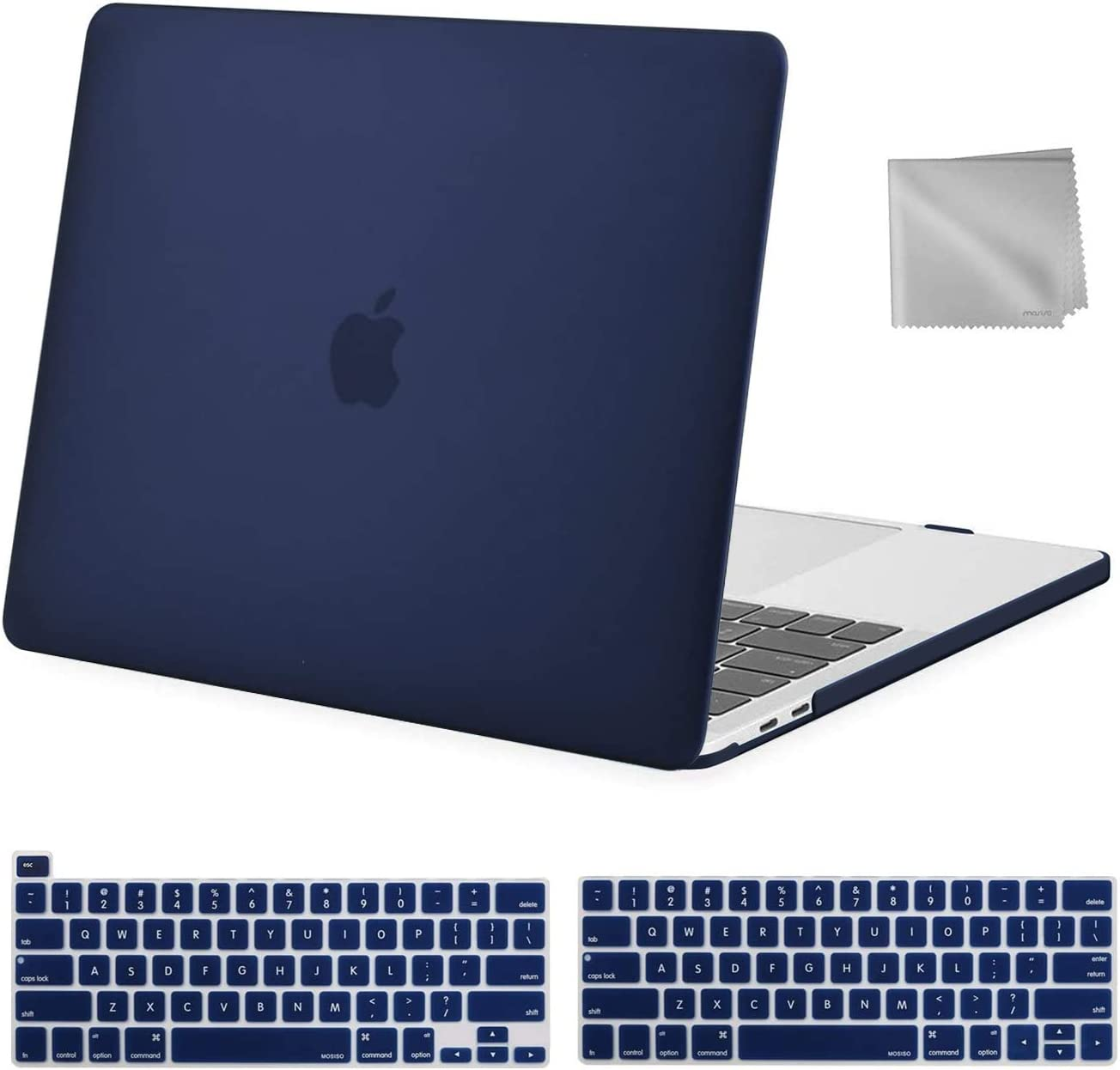 MOSISO MacBook Pro 13 inch Case 2020 2019 2018 2017 2016 Release A2289 A2251 A2159 A1989 A1706 A1708, Plastic Hard Shell&Keyboard Cover&Wipe Cloth Compatible with MacBook Pro 13 inch, Navy Blue