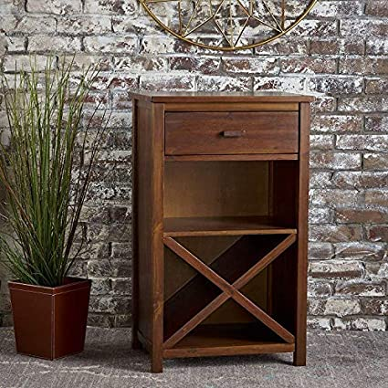Encore Decor Solid Sheesham Wood Bar Cabinet Furniture with Drawer for Home | Living Room | Natural Brown