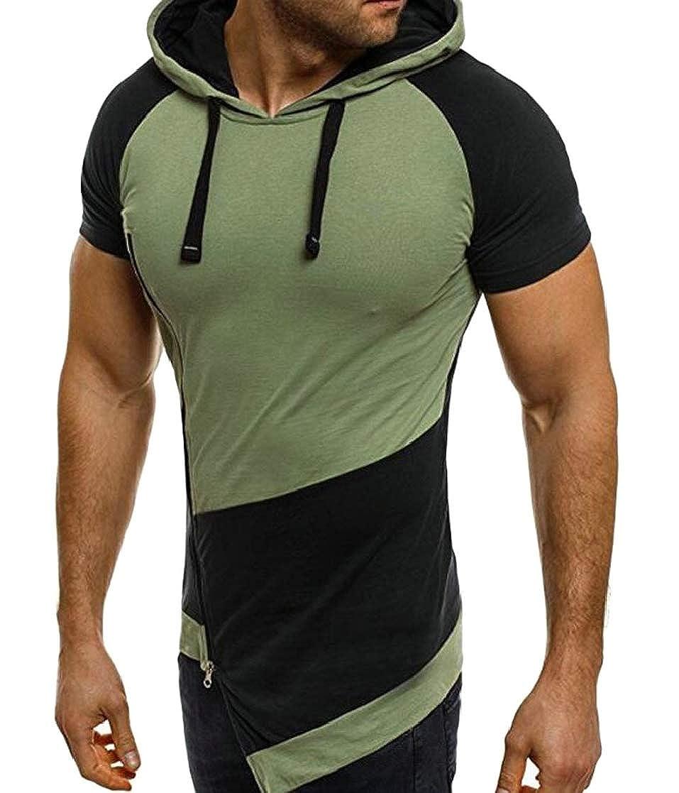 Domple Men Casual Hoodie Irregular Oblique Zipper Contrast Color T-Shirts Tee