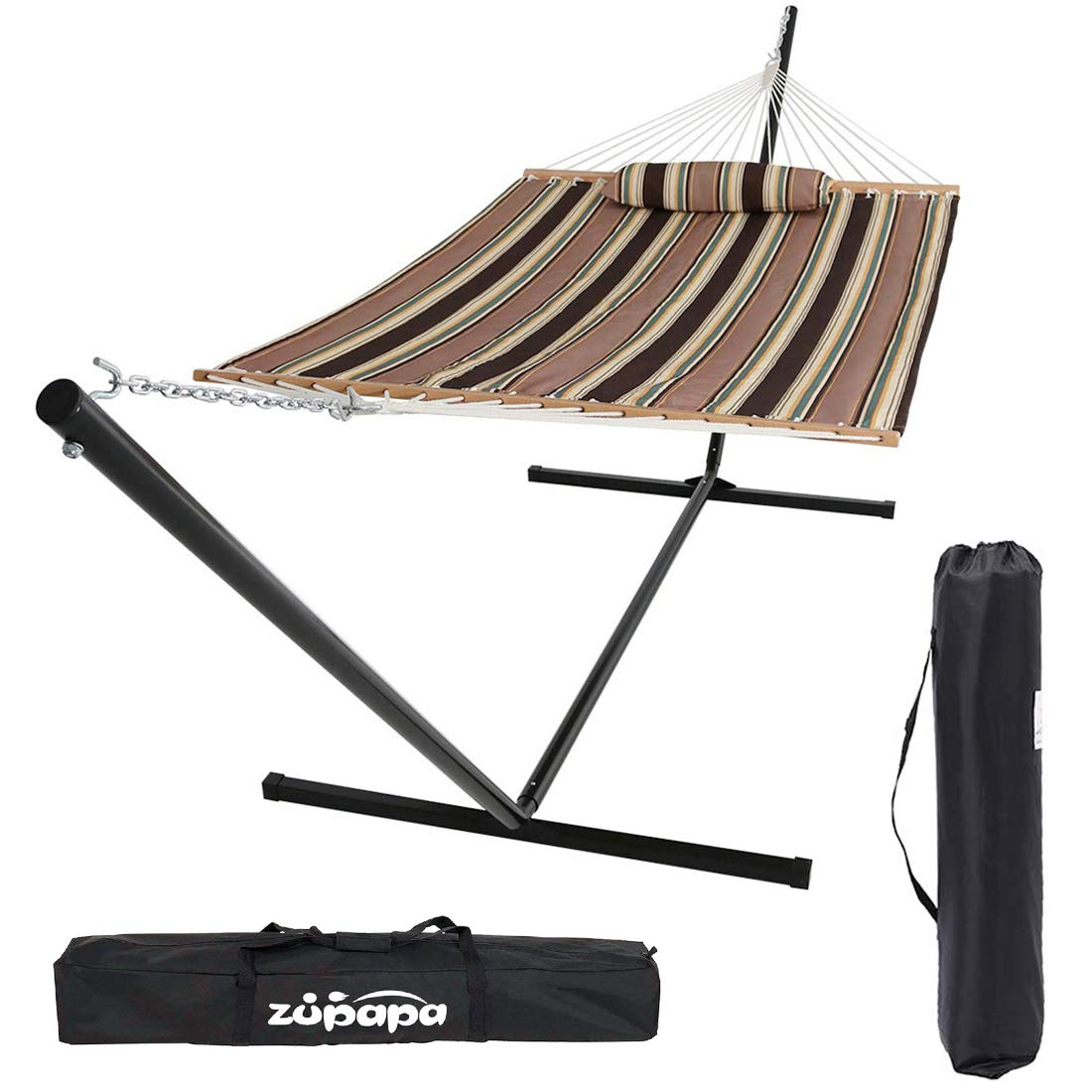 Zupapa 15 Feet Hammock with Stand Heavy Duty 550 Pounds Capacity with Spreader Bars and Pillow, 2 Person Double Hammock for Indoor Outdoor Use, 2 Storage Bags Included Coffee Stripe