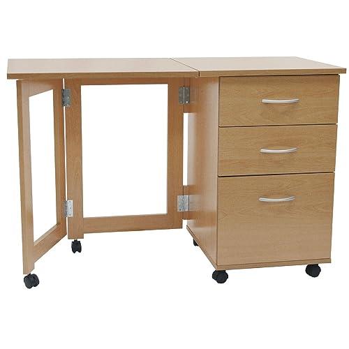 WATSONS FLIPP   3 Drawer Folding Office Storage Filing Desk/Workstation    Beech