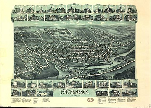 Wall Art Print entitled Vintage Pictorial Map Of Hackensack NJ (1896) by Alleycatshirts @Zazzle | 10 x 7