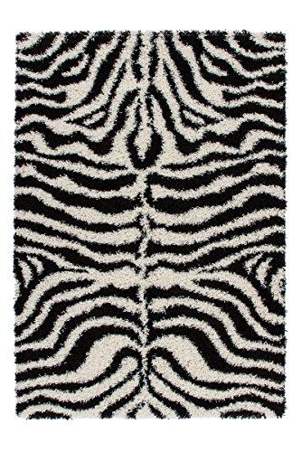 Lalee  347145799  Designer Hochflor Shaggy Teppich / Weich / Muster : Zebra / TOP Preis / Schwarz Weiss / Grösse : 160 x 230 cm