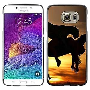 TopCaseStore / la caja del caucho duro de la cubierta de protección de la piel - Mustang Galloping Horses Sunset Stallion - Samsung Galaxy S6 SM-G920