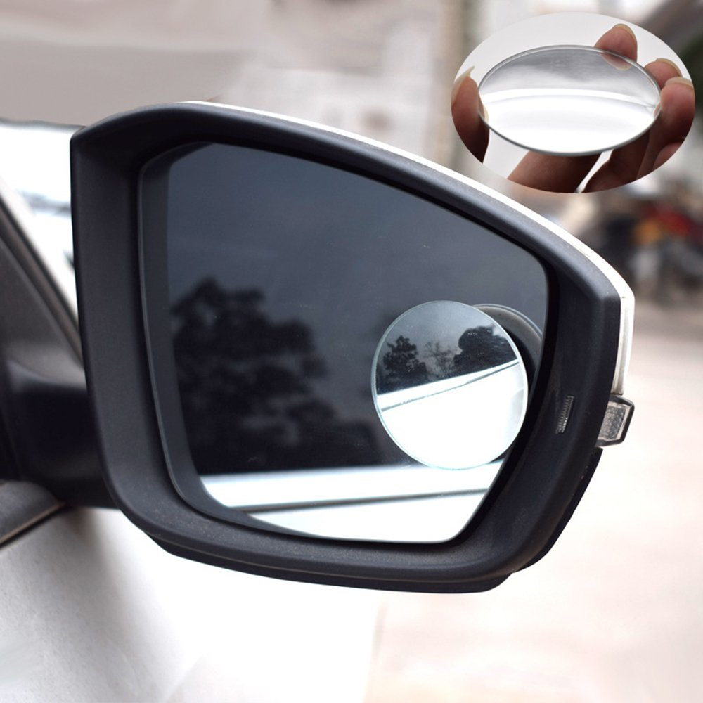 MotorFansClub Blind Spot Mirror, 2'' Round HD Glass Frameless Convex Rear View Mirror, Pack of 2