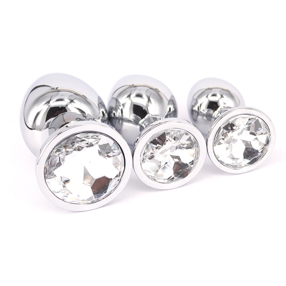 Eastern Delights 3 Pcs Jewelry Anal Plug Steel Metal Butt Plated Plug with Penis Condom, White