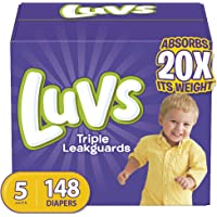 Diapers Size 5, 148 Count - Luvs Triple Leakguards Disposable Baby Diapers, ONE MONTH SUPPLY (Packaging May Vary)
