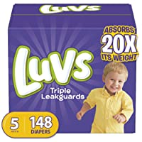 Diapers Size 5, 148 Count - Luvs Triple Leakguards Disposable Baby Diapers, ONE...