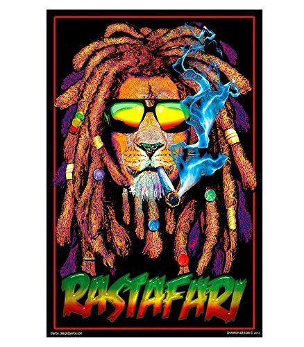 Rastafari Lion Blacklight Reactive Poster by Scorpio Posters