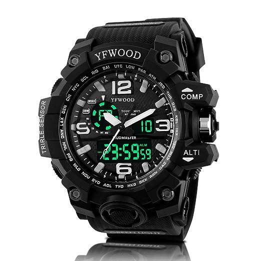 YFWWOOD Reloj de pulsera para hombre, analógico, movimiento de cuarzo, luz nocturna,