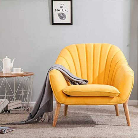 Outstanding Wamiehomy Modern Suede Fabric Armchair Tub Occasional Chair With Solid Wood Legs For Living Room Bedroom Reception Contemporary Yellow Creativecarmelina Interior Chair Design Creativecarmelinacom