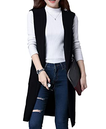 Women's Sleeveless Open Front Mid-long Hooded Lapel Knit Cardigan ...