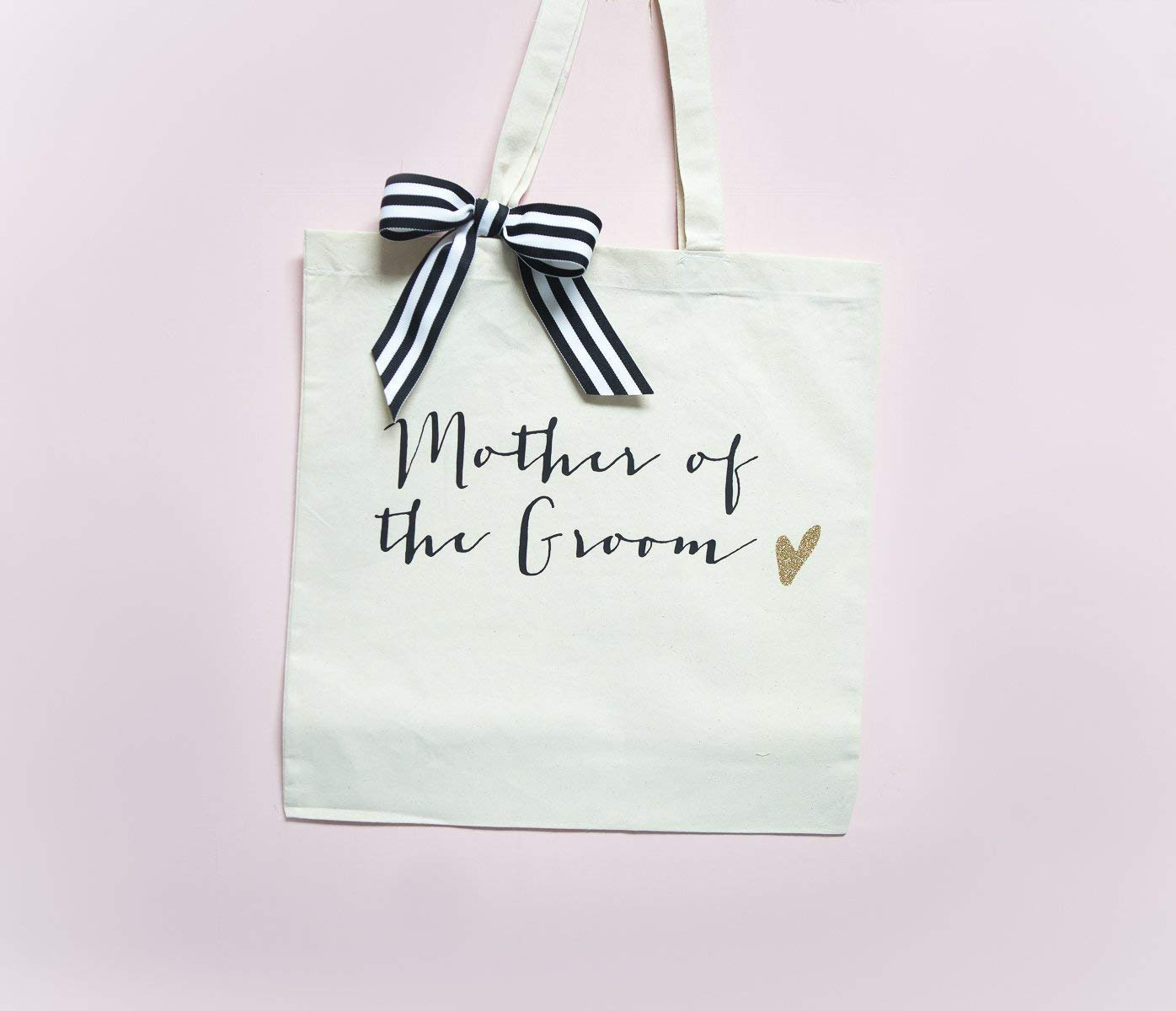 Black with Gold Glitter and Striped Ribbon Bags for Bride and Bridesmaids Designer Inspired Bridal Party Wedding Tote Bags Canvas Cotton Wedding Bags