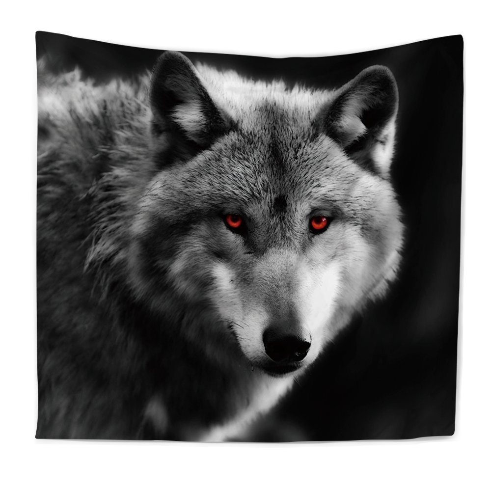 KRWHTS Wildlife Animal Wolf Home Decor Tapestries Wall Art, Lone Wolf Tapestry Wall Hanging Art Sets150200 cm(60''80'') (150130cm(60''52''), 62)