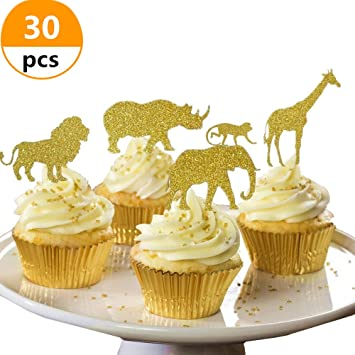 30 Pcs JeVenis Gold Glitter Jungle Safari Animal Cupcake Toppers Animals Cake Decorations For
