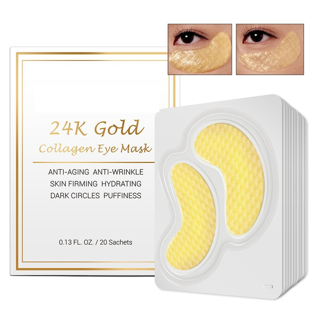 Luxury Crystal Gel Collagen Eye Mask - 20 Pack New Crystal 24K Gold Powder Gel Collagen Eye Mask Masks Sheet Patch, Anti Ageing Aging, Remove Bags, Dark Circles & Puffiness, Skincare, Anti Wrinkle, Moisturising, Moisture, Hydrating, Uplifting, Whiteni