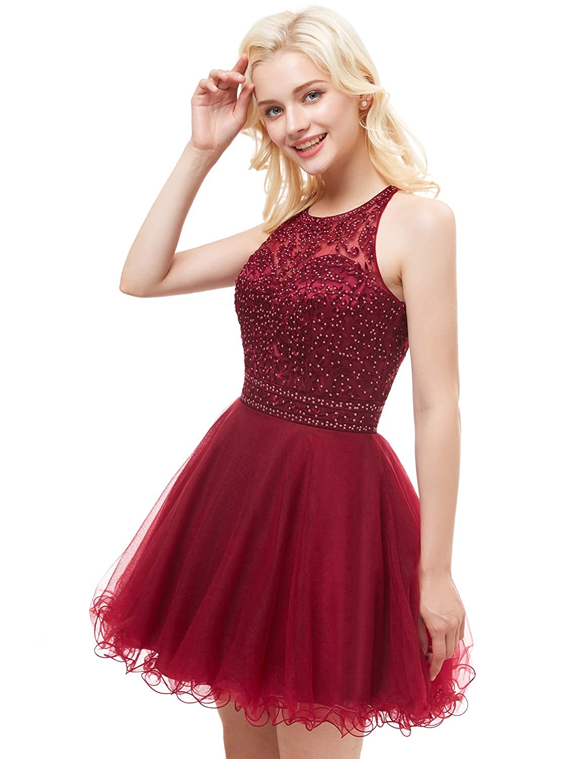8d93a9540b Aurora Bridal Women s Tulle Beaded Prom Dresses 2018 Short Homecoming Gown  AH111 at Amazon Women s Clothing store