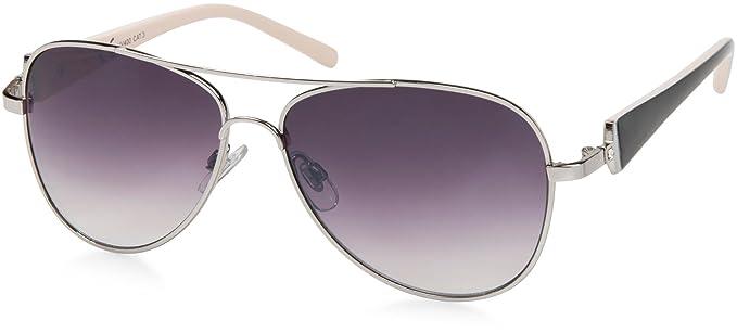 styleBREAKER Élégantes lunettes pilote pour femme à verres teintés, lunettes de soleil style aviateur avec branches vernies et strass 09020053, couleur:Monture dorée-marron / verre dégradé marron