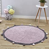 Wonder Space Handmade Round Nursery Rug - Cute Baby Crawling Mat, 100% Cotton With Pom Poms Design, Best Play Mat For Kids Room & Teepee Tent Decor (Pink/Grey)