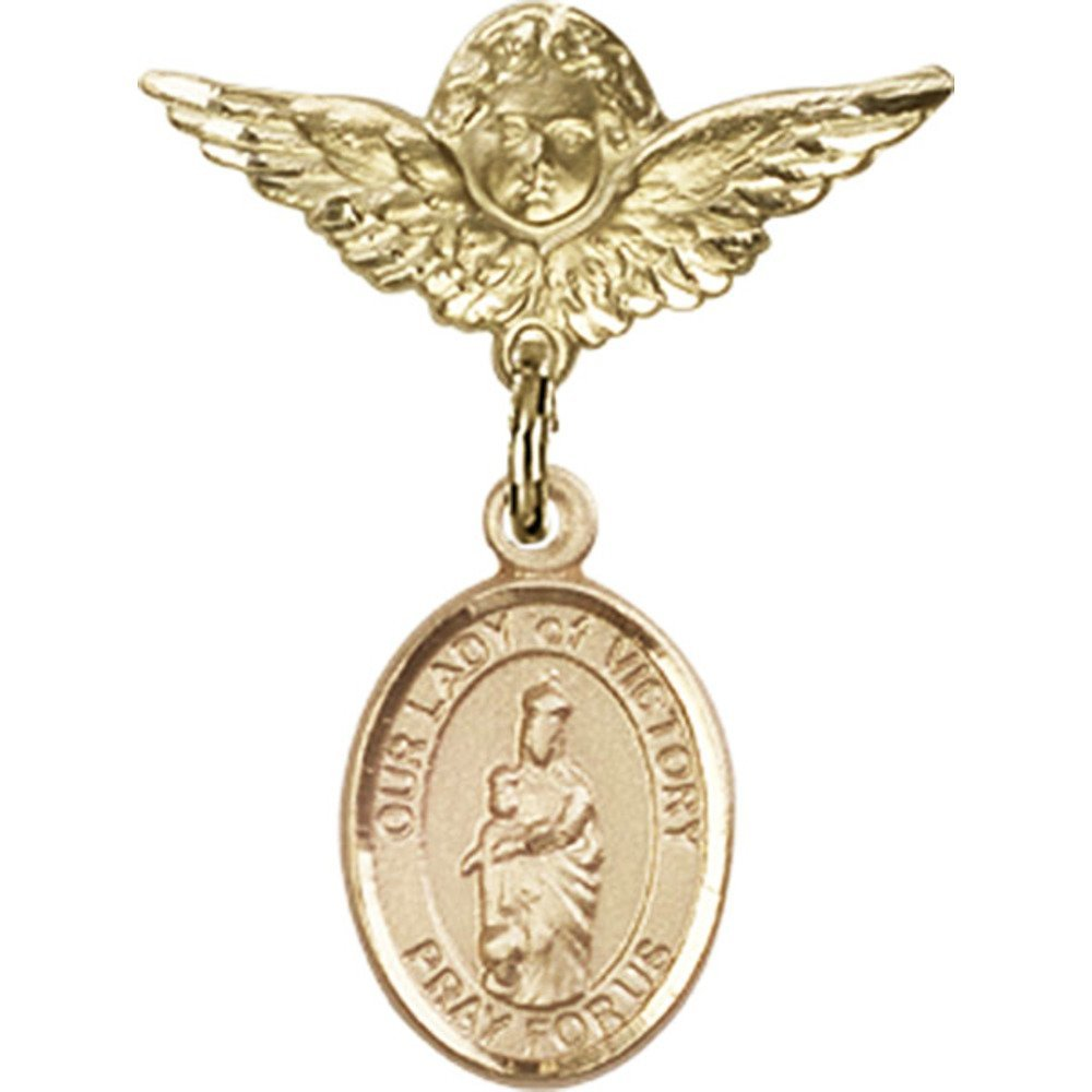 14kt Yellow Gold Baby Badge with Our Lady of Victory Charm and Angel w/Wings Badge Pin 1 X 3/4 inches
