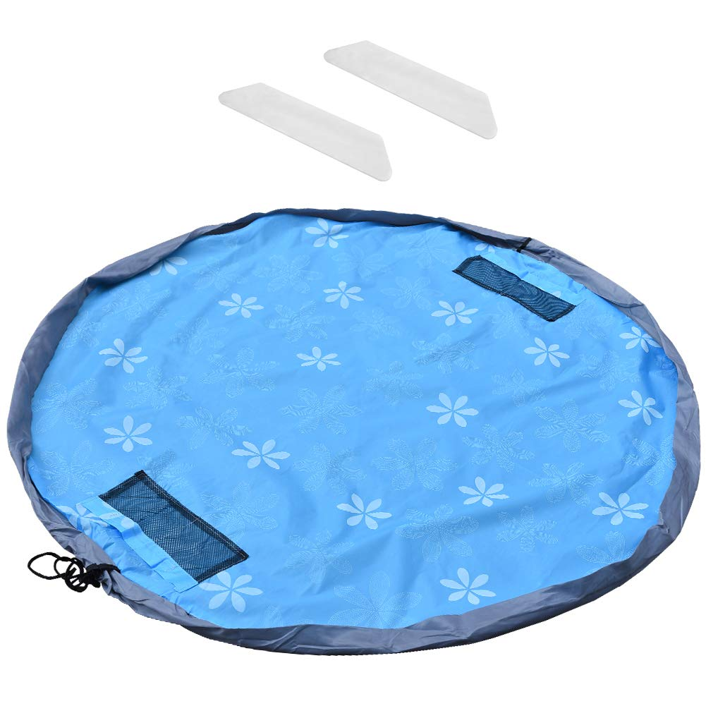 Toy Bag Mat, Irich Kid Activity Mat & Heavy Duty Lego Rug Activity Blanket - 2 in 1 Multi Purpose Mat with 2Pcs Non-Slip Bar for Storing Medium & Large Size Toy (Blue)