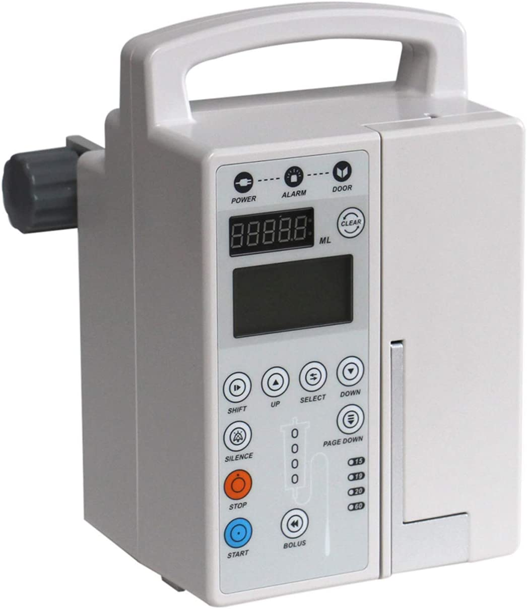 Rechargeable Automatic Audible and Visual Alarm Veterinary In-fusion Pump, Portable Fluid Administration Pump Machine with LCD Display, KVO, Alarm, Calibration