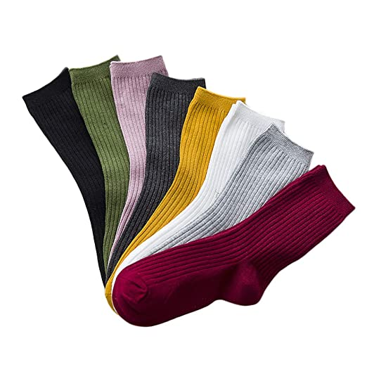 8 Pairs Women Lightweight Cotton Knit Cotton Crew Retro Socks All Season  Soft Slouch Solid Color 7a32cffe6