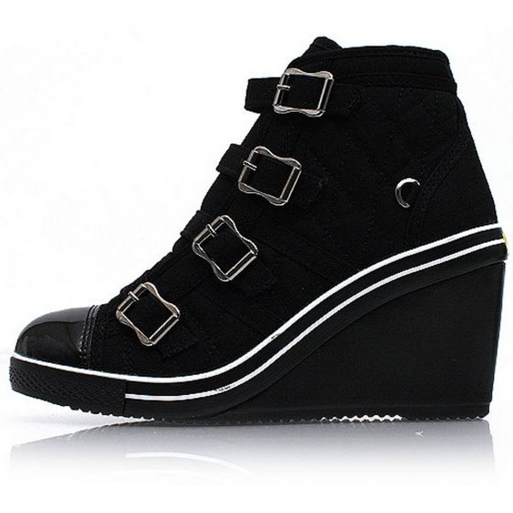 EpicStep Women's High Tops High Heel Wedges Shoes Casual Zip Velcro Fashion Sneakers B014D1B2WQ 8 B(M) US|Black