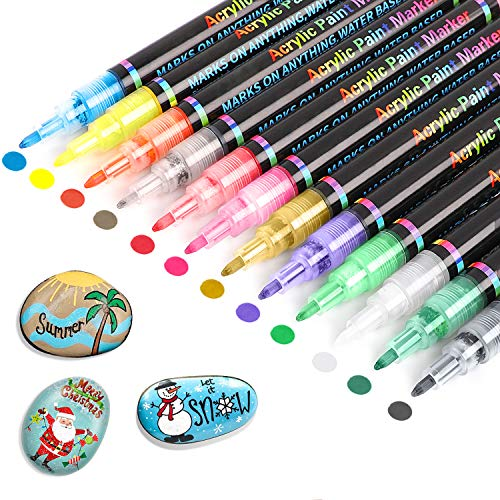 Acrylic Paint Pens, 12 Colors Paint Art Marker for Rock, Ceramic, Glass, Canvas, Mug, Wood, 0.7mm Waterproof Fine Tip Paint, Water Based