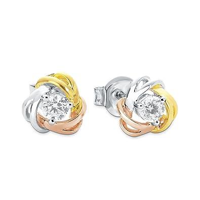 Amor Damen-Ohrstecker 8 mm Knoten Tricolor 925 Silber teilvergoldet  Zirkonia weiß  Amazon.de  Schmuck 3899860855