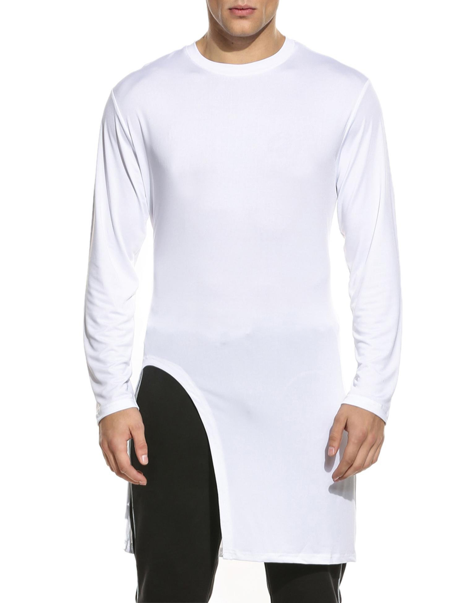 JINIDU Men's Fashion Long Hem Crewneck Slim Fit Long Sleeve Pullover T Shirt