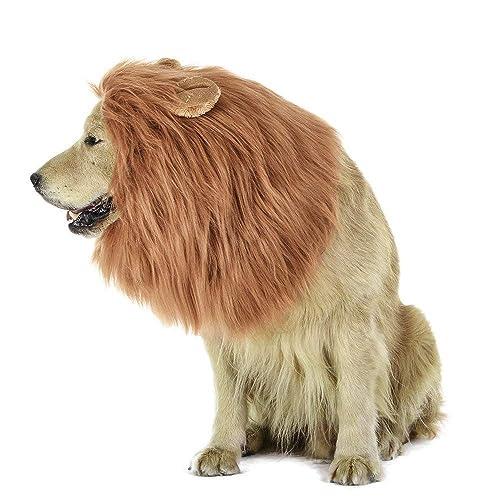 MiLuck Lion Mane peluca para perro y gato Disfraz con orejas Mascota ajustable cómodo Fancy León