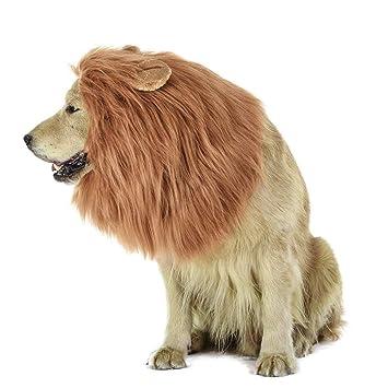 MiLuck Lion Mane peluca para perro y gato Disfraz con orejas Mascota  ajustable cómodo Fancy León acbbde535b27