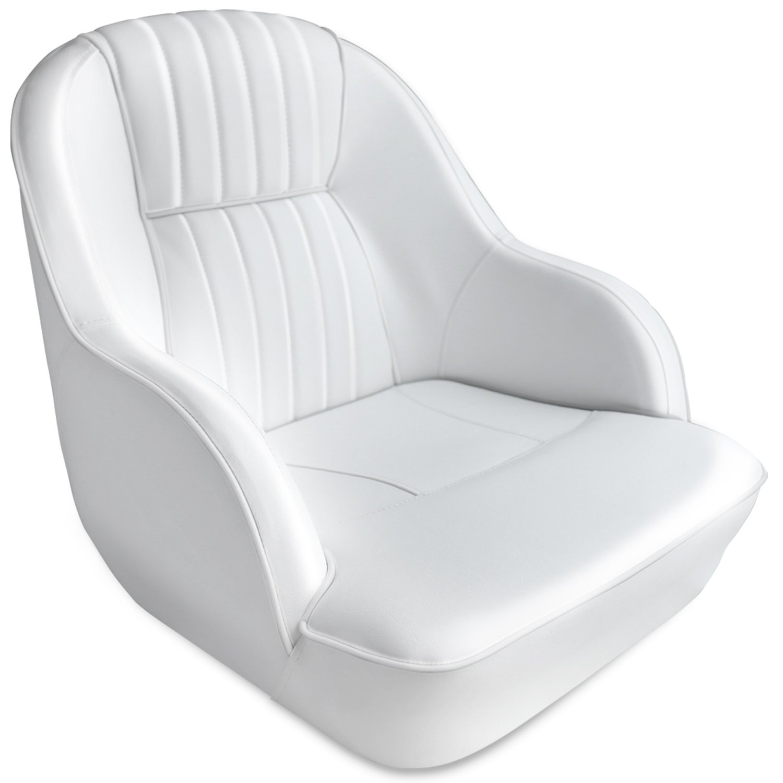 Leader Accessories Pontoon Captains Bucket Seat Boat Seat (White/White Piping) by Leader Accessories