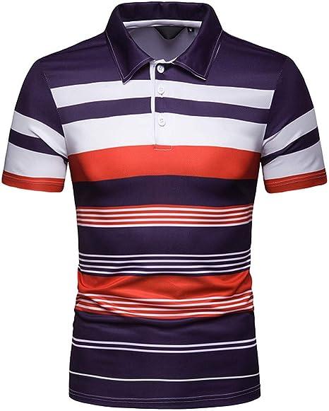 YKDDJJ Hombre Manga Corta Raya Pintura Color Raya Costura Gran tamaño Blusa Superior Informal Camisas Refrescante y Transpirable Camiseta de Hombre XXL B: Amazon.es: Deportes y aire libre