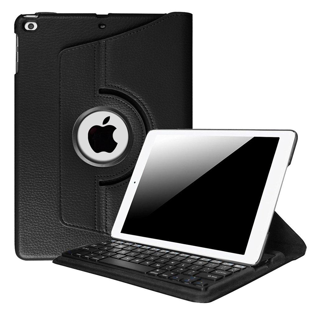 Fintie iPad 9.7 inch 2018 2017 / iPad Air 2 / iPad Air Keyboard Case - 360 Degree Rotating Stand Cover w/Built-in Wireless Bluetooth Keyboard for Apple iPad 9.7'' / iPad Air 2 / iPad Air, Black