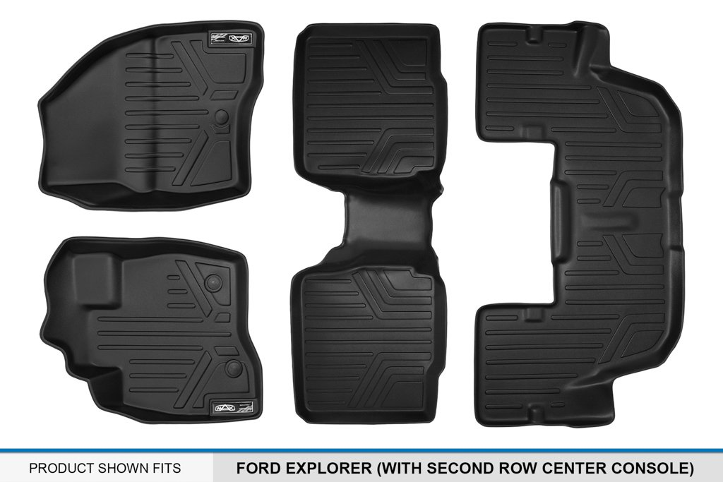 for Ford Explorer MAXLINER with Second Center Console MAX LINER A0245//B0109//C0082 Black Floor Mat 3 Row Set