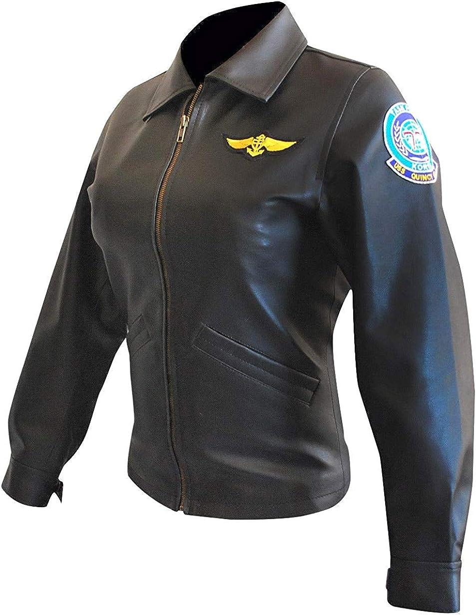 Femmes Top Gun Kelly McGillis Bomber Noir Pilote Aviateur Veste Cuir Charlie