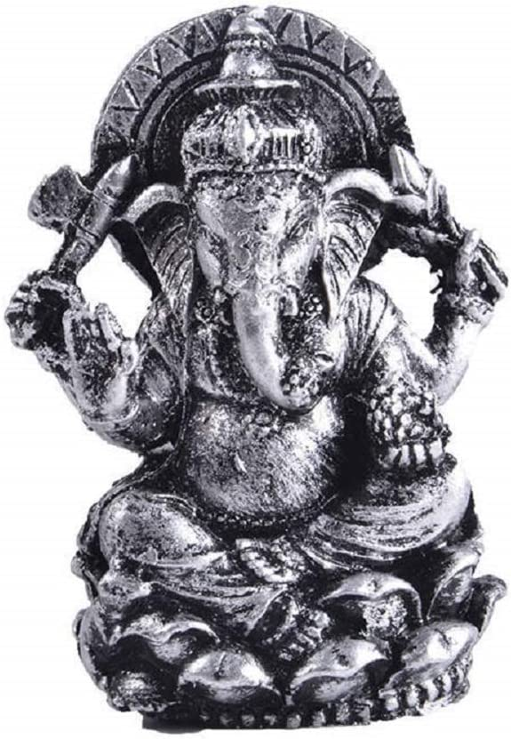 Thai Decor Ganesha Buddha Statue Hindu God of Success Sitting on Lotus Aquarium Fish Tank Resin Decorations (Silver)