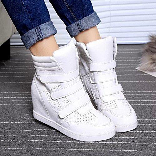 Correas Cruzadas Zapatos Deportivos Correr Casuales para Mujeres Zapatos para Correr para Mujeres Zapatos para Estudiantes Zapatos Casuales Aumentados , blanco , EUR35