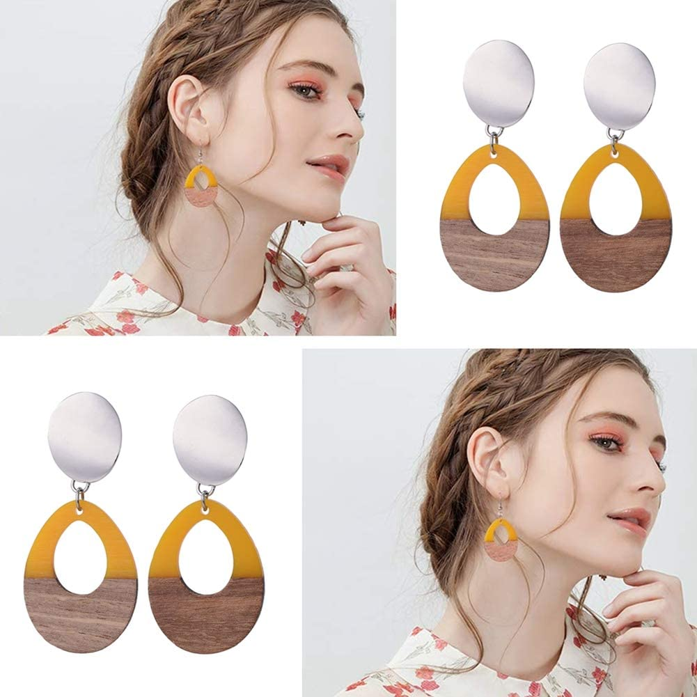 OLYCRAFT 10pcs Resin Wooden Earring Pendants Diamond Vintage Resin Wood Statement Jewelry Findings for Necklace and Earring Making Dark Red