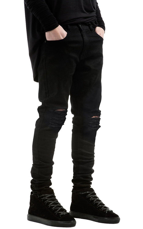 Men&39s Slim Fit Black Stretch Destroyed Ripped Skinny Denim Jeans