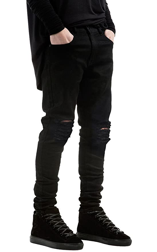 All black ripped jeans mens