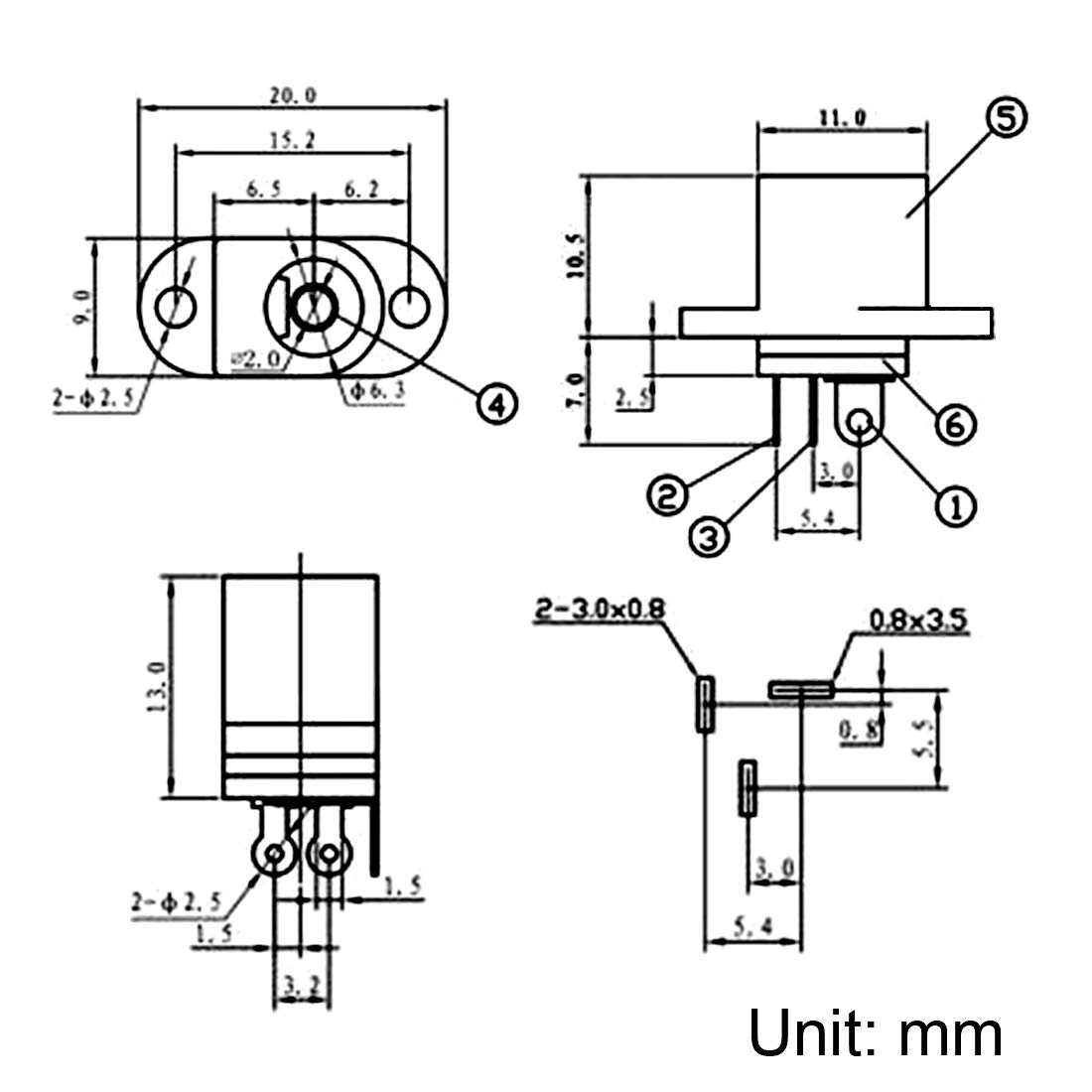 sourcing map DC-017 5.5mmx2.0mm Jack Alimentazione DC Presa 3 Pin connettore Femmina da Pannello 15pz