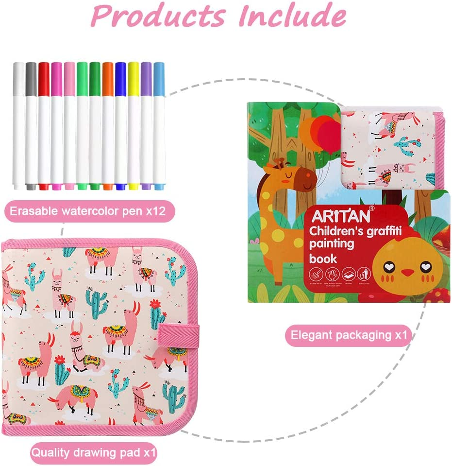 Bear 8/×8 inches 14Page 12 Colored erasable pens AriTan Portable Erasable Drawing Pad Toys for Kids Magna Double-Sided Reuse PP Writing Board