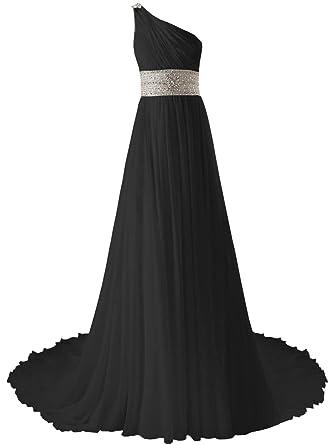 Black and Teal One Shoulder Prom Dress