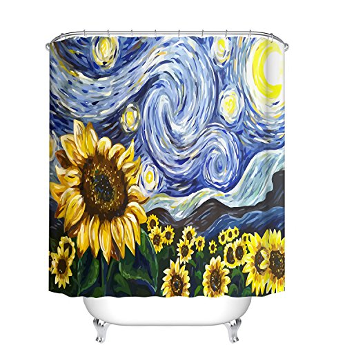 - Fangkun Bathroom Shower Curtain Sunflower Oil Painting Art Decor Set - Polyester Fabric Waterproof Mildew Bath Curtains - 12pcs Hooks -Navy Blue,Yellow (YL139#, 72 x 72 inches)