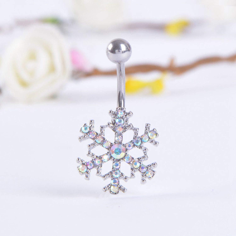 ihuoshang Summer Snow Belly Button Rings Navel Piercing Women Pircing White Zircon Belly Piercing Gift
