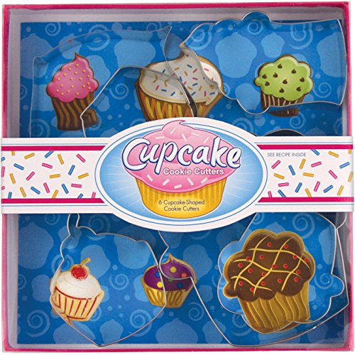 Fox Run Brands 36030 6-Piece Tin Plated Steel Cookie Cutters, Cupcake Shapes