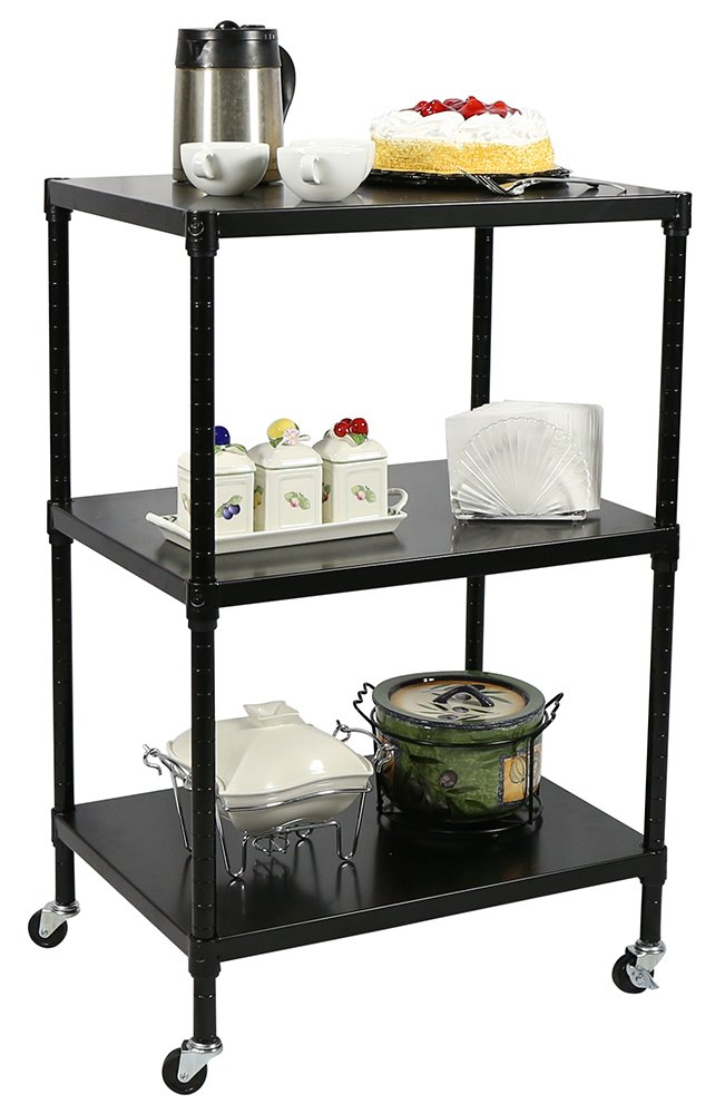 Apollo Hardware NSF Certified 3-Tier Metal Solid Shelving Heavy Duty Utility Cart 18''x24''x37'' (Black)